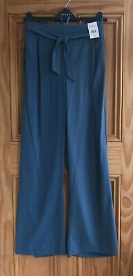 £11.99 • Buy Ex Evans NEW Blue Wide Leg Belted Work Trousers Regular Plus Size 14- 28 RRP=£32