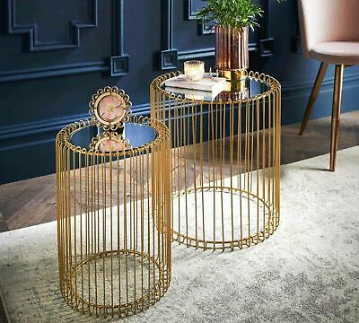 £64.99 • Buy Set Of 2 Round Cage Table Mirror Top Coffee Table Side Table Living Room Gold