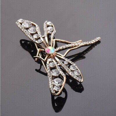 £3.99 • Buy Gold Crystal Dragonfly Brooch Vintage Style Insect Diamante Broach Pin UK