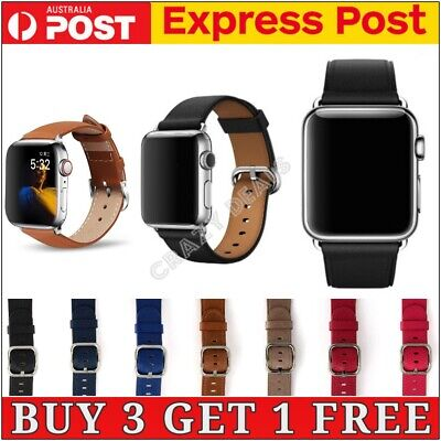 AU9.99 • Buy Genuine Leather Strap IWatch Band For Apple Watch Series 6 5 4 3 2 1 SE 40mm 44