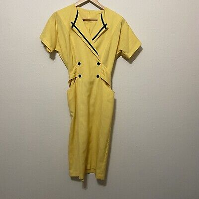 Vintage 80s Office Dress Size 8 Yellow Shoulder Pads Power Suit Union Made USA • 20.51£
