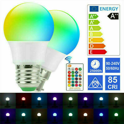 £9.89 • Buy RGB LED Remote Control Colour Changing Dimmable Bayonet Screw Light Bulb 12v
