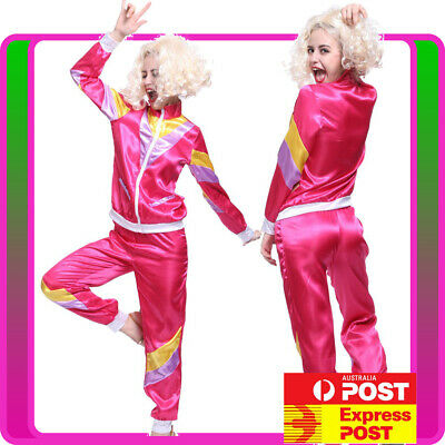 AU39.89 • Buy Ladies 80s Retro Neon Tracksuit Height Of Fashion Pink Costume 1980s Shell Suit