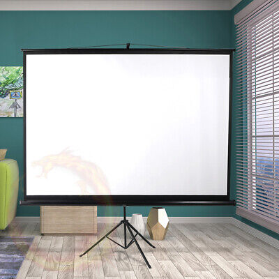 AU111.92 • Buy 100 Inch Projector Screen Tripod Stand Home Pull Down Outdoor Screens Cinema 3D