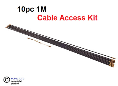 £11.95 • Buy 10Pc Cable Access Kit 1M X 10 Electricians Puller Rods Wires Draw Push Pulling