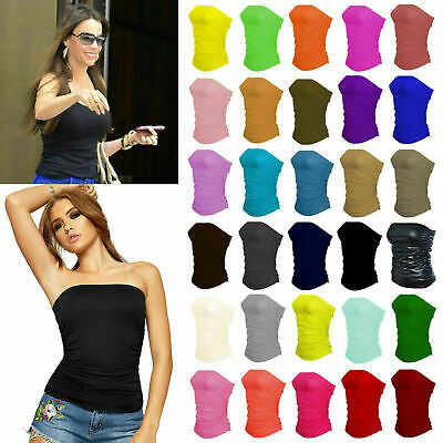 £6.95 • Buy Ladies Plain Ruched Boob Tube Vest Top Sleeveless Bandeau Strapless Top