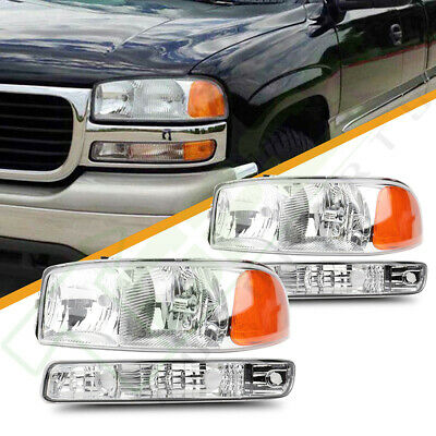 $80.59 • Buy For 1999-2006 GMC Sierra Yukon XL Front Headlights Assembly + Bumper Lamps Pair
