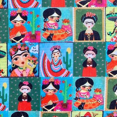 £4.50 • Buy Fq Frida Kahlo Mexican Artist Icon  Character  Fabric