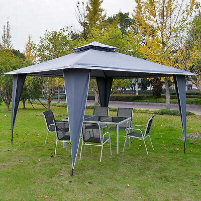 £139.99 • Buy Outsunny 3.5x3.5m Side-Less Outdoor Canopy Gazebo 2-Tier Roof Steel Frame Grey