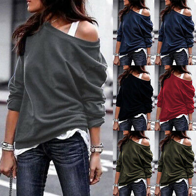 £11.68 • Buy Women's Solid Off The Shoulder Jumper Ladies Tops Blouse Baggy Casual Sweater 5