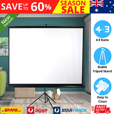 AU121.89 • Buy 100 Inch Projector Screen Tripod Stand Home Pull Down Outdoor Screens Cinema 3D