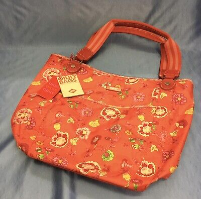 £29.50 • Buy Oilily Shopper Bag Tangerine Floral Zip Top Shoulder Tote New With Tags