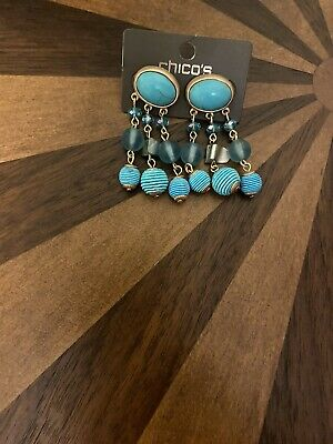 £10.62 • Buy NWT Chicos Chandelier Earrings Blue Faux Turquoise