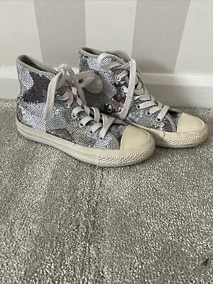 £9 • Buy Womens Converse Silver Sequin Size 3