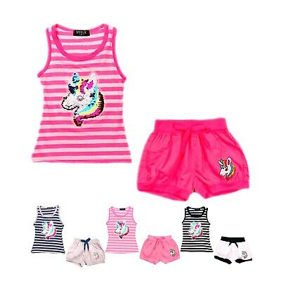 £8.99 • Buy Girls Unicorn Outfit Shorts Set Vest Top Striped Sequin 2 Piece Summer Tank Tee