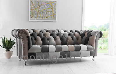 £1589 • Buy Bespoke Abbey Button Seat Back Patchwork Leather Chesterfield Sofa Greys