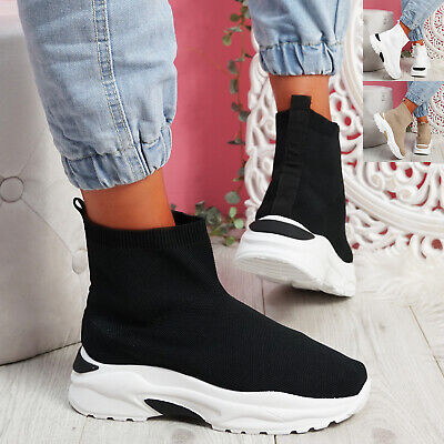 $ CDN25.56 • Buy Womens Ladies Sock Sneakers Knit Trainers Chunky Sole Women Shoes Size
