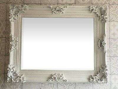 £89.95 • Buy FRENCH BAROQUE ANTIQUE WHITE WALL MIRROR Wide Decorative Frame - 95 X 75 X 10cm