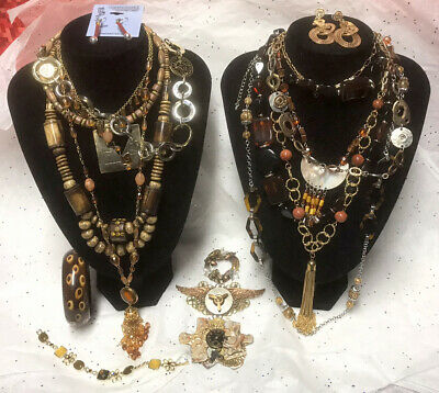 "$ CDN85.36 • Buy Vtg To Mod Boho ""Autumn Colors"" Necklace-Pierced Earrings-Brooch-Bracelet 16~Lot"