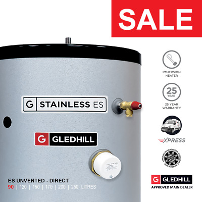 £266.99 • Buy Gledhill Stainless ES Unvented Hot Water Cylinder 90L DIRECT Ref: SESINPDR090