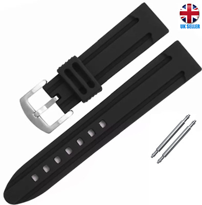 Extra Soft Black Rubber Waterproof Watch Strap Band 20.22.24.26mm  • 4.99£