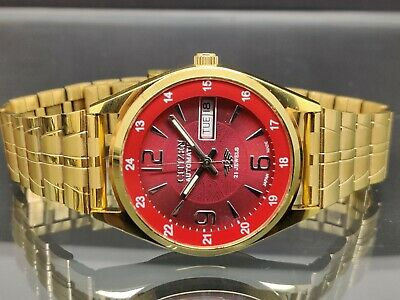 £28.93 • Buy Citizen Automatic Men's Gold Plated Red Dial Day Date Vintage Japan Watch Run