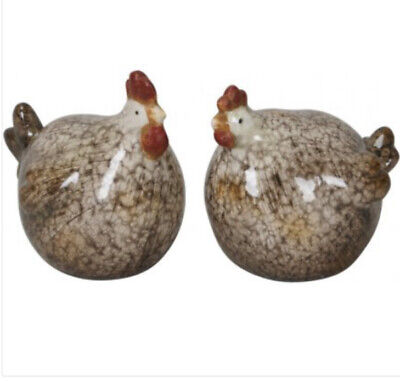 Set Of 2 Small Ceramic Beautiful Raw & Glazed Rooster Chicken Hen Ornaments • 12.99£