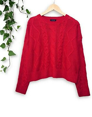 NEW LOOK Red 90s Oversized Slouchy Cable Knitted Cropped Sweater Jumper 14 16 18 • 12.99£