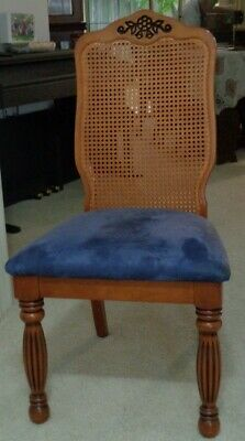 AU120 • Buy 6 Lovely Dining Chairs. Timber Frame With Mesh Back And Velvet Seats