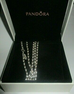 AU245 • Buy PANDORA Necklace - RICE / BALL Silver Shiny Chain - 100cm - 590143 In Box