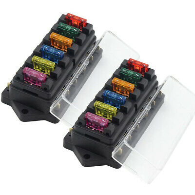 AU15.76 • Buy 2X 6 Way Blade Fuse Box Block Holder LED Indicator For Car Marine Boat 12V 24V
