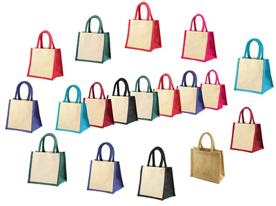 £3.99 • Buy Jute Bags SMALL Size Hessian Luxury Tote Eco Reusable Gift Hamper Bags