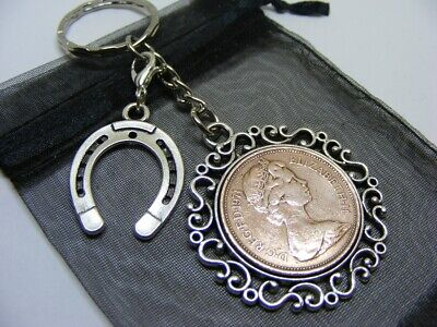 1971 Two Pence Coin & Lucky Horseshoe Charm Keyring - 50th Birthday Gift • 6.95£