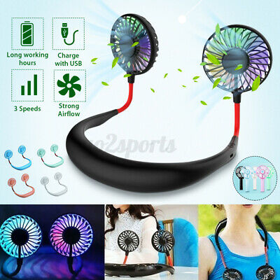 AU11.94 • Buy Air Cooler Fan Portable Neck Fan Cooling Hanging LED Lights Air Conditioner USB