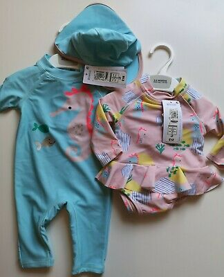 £21 • Buy Marks And Spencer Baby Girls Swimsuits Uv Sunsuit And Costume Age 0-3 Months