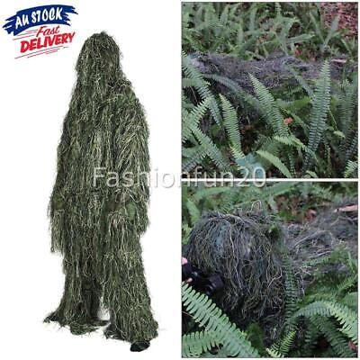 AU36.95 • Buy 5 IN SET Gillie Ghillie Suit Woodland Camouflage Camo Pants Jacket Hood New