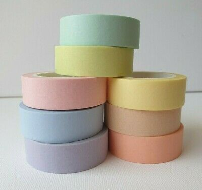 AU5.50 • Buy PASTEL Washi Tape - 15mm X 10M -Pick Your Colours-Blue Green Pink Purple & More
