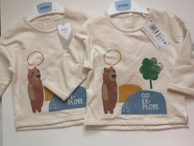 £13 • Buy 2 Marks And Spencer Baby Boy Jumpers Age 6-9 Months Matching Twins Bear