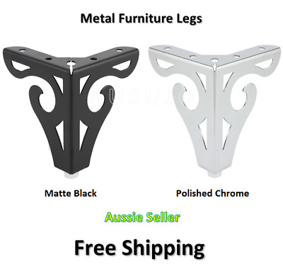 AU29 • Buy 4 X Furniture Legs Black Metal 100mm Cabinet Table Couch Sofa Lounge