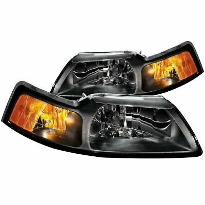 $97.99 • Buy Aftermarket Headlight Pair Left + Right (Black) For 1999-2004 Ford Mustang