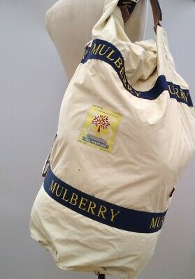 £275 • Buy Vintage MulberryTravel Bag Weekend Holdall Duffle Cream Extra Large Rare Wax
