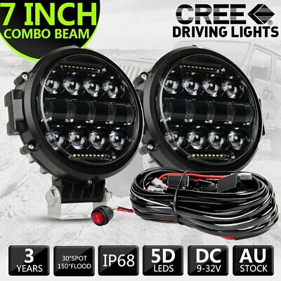 AU99.99 • Buy Pair 7  Round LED Work Light Spot Combo Lamp DRL Driving Reserve Offroad +Wiring