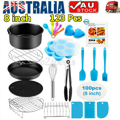 AU23.99 • Buy 123PCS 8 Inch Air Fryer Accessories Baking Rack Cake Barbecue Frying Tray Barrel
