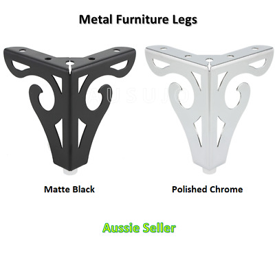 AU21 • Buy 4 X Furniture Legs Black Chrome Metal 100mm Cabinet Table Couch Sofa Lounge