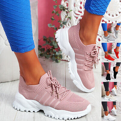 $ CDN25.56 • Buy Womens Ladies Knit Trainers Chunky Sole Sneakers Lace Sport Women Shoes Size