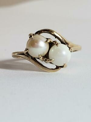 $89.99 • Buy Vtg Lady's Two Pearl Stone Ring 10K Solid Yellow Gold 2.1g Size 6.75 (EL1061379)
