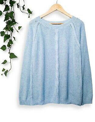 NEW Light Blue 90s Cut Out Oversized Slouchy Cable Knitted Sweater Jumper 12 14 • 12.99£