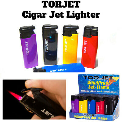 £3.79 • Buy 4 X TORJET CIGAR WINDPROOF TURBO JET FLAME ELECTRONIC LIGHTER (Refillable)