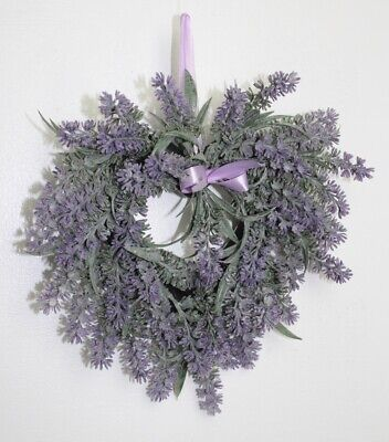 Gisela Graham Easter Wedding Party Lavender Small Heart Wreath With Ribbon  • 9.99£