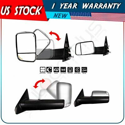 $166.35 • Buy Tow Mirrors Chrome Power Heated Turn Signals For 02-08 Dodge Ram 1500 2500 3500